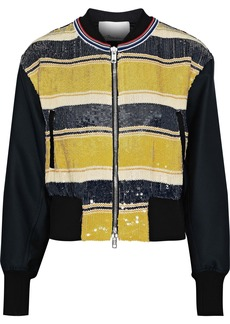 3.1 Phillip Lim Woman Striped Sequined Gauze And Duchesse-satin Bomber Jacket Yellow