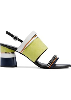 3.1 Phillip Lim Woman Drum Studded Color-block Leather And Suede Sandals Light Green
