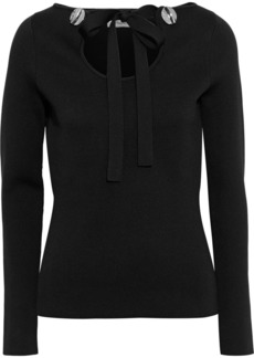 3.1 Phillip Lim Woman Tie-neck Button-embellished Stretch-jersey Top Black