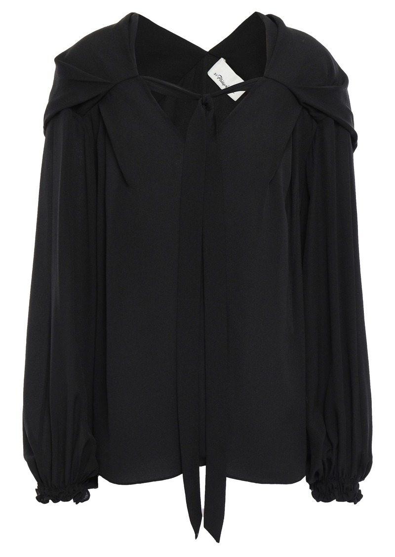 3.1 Phillip Lim Woman Tie-neck Silk Crepe De Chine Blouse Black