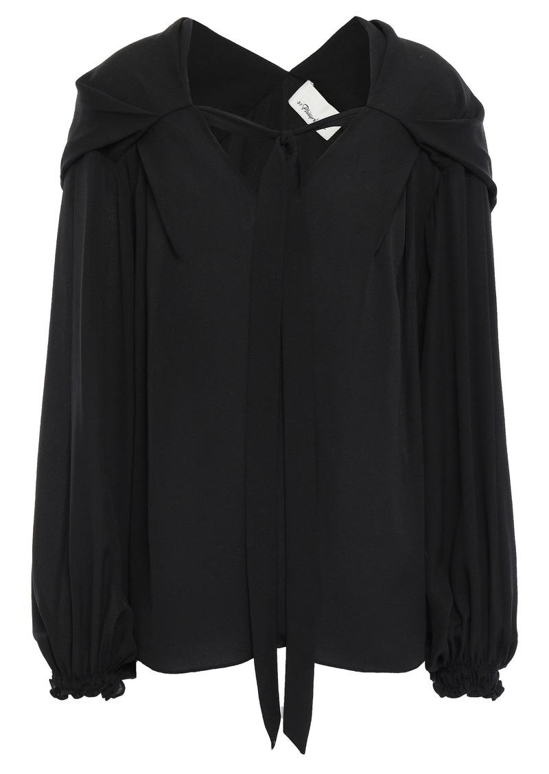 3.1 Phillip Lim Woman Tie-neck Silk Crepe De Chine Blouse Black