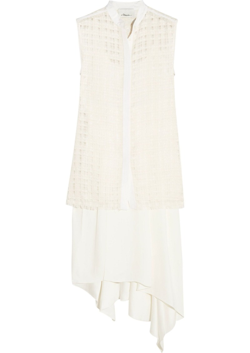 3.1 Phillip Lim Woman Tiered Silk-bouclé And Crepe Dress Ecru