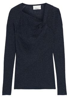 3.1 Phillip Lim Woman Twist-front Metallic Ribbed-knit Top Midnight Blue
