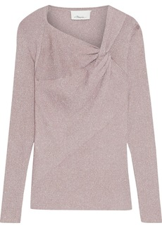 3.1 Phillip Lim Woman Twist-front Metallic Ribbed-knit Top Antique Rose