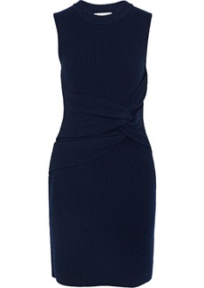3.1 Phillip Lim Woman Twist-front Ribbed Wool And Yak-blend Mini Dress Navy