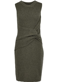 3.1 Phillip Lim Woman Twist-front Ribbed Wool Mini Dress Army Green
