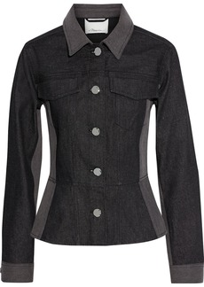 3.1 Phillip Lim Woman Two-tone Denim Peplum Jacket Black