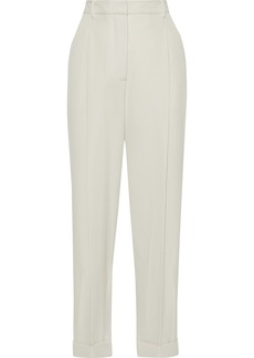 3.1 Phillip Lim Woman Grosgrain-trimmed Wool-twill Straight-leg Pants Ecru