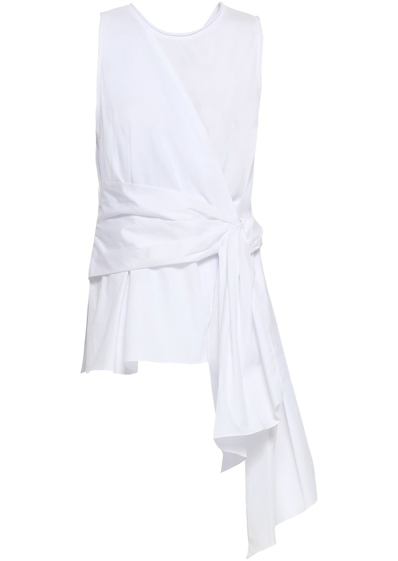 3.1 Phillip Lim Woman Wrap-effect Cotton-jersey And Poplin Top White