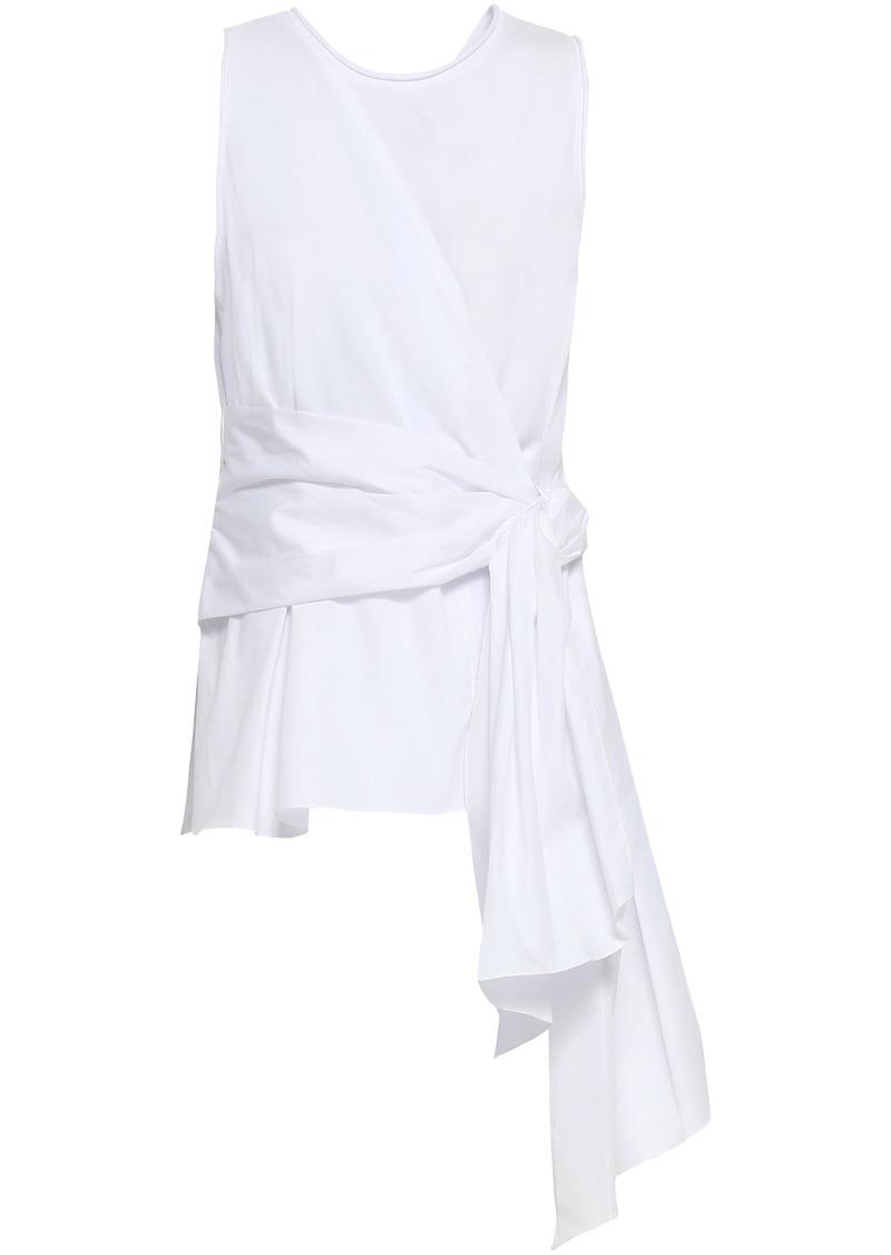 3.1 Phillip Lim Woman Wrap-effect Cotton-jersey And Poplin Top White