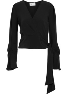 3.1 Phillip Lim Woman Wrap-effect Ruched Silk Crepe De Chine Blouse Black
