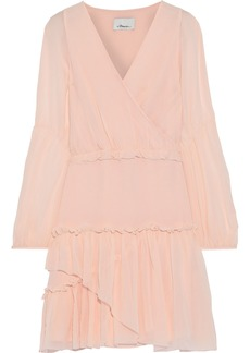 3.1 Phillip Lim Woman Wrap-effect Gathered Silk-chiffon Mini Dress Peach