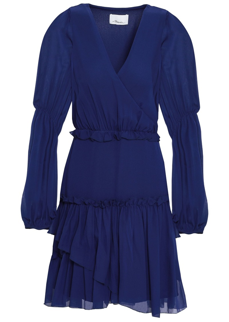 3.1 Phillip Lim Woman Wrap-effect Gathered Silk-chiffon Mini Dress Royal Blue
