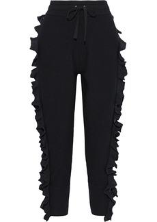 3.1 Phillip Lim Woman Zip-detailed Ruffled Wool-blend Track Pants Black
