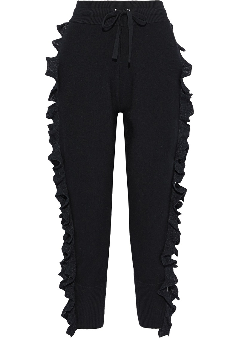 3.1 Phillip Lim Woman Zip-detailed Ruffled Wool-blend Track Pants Black
