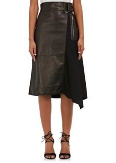 3.1 Phillip Lim Women's Flight Leather & Twill Combo Skirt