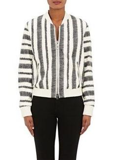 3.1 Phillip Lim Women's Leather Zigzag Striped Bomber Jacket