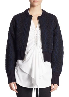 3.1 Phillip Lim Woven Cable Bomber Jacket
