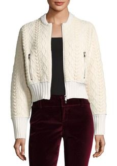 3.1 Phillip Lim Woven Mock-Neck Cable Bomber Sweater
