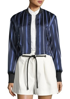 3.1 Phillip Lim Zip-Front Striped Satin Bomber Jacket