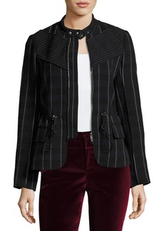 3.1 Phillip Lim Zip-Front Tailored Striped Field Jacket