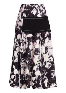 3.1 Phillip Lim Abstract Daisy Layered Midi Skirt