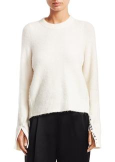 3.1 Phillip Lim Embellished Split-Cuff Crewneck Alpaca Sweater