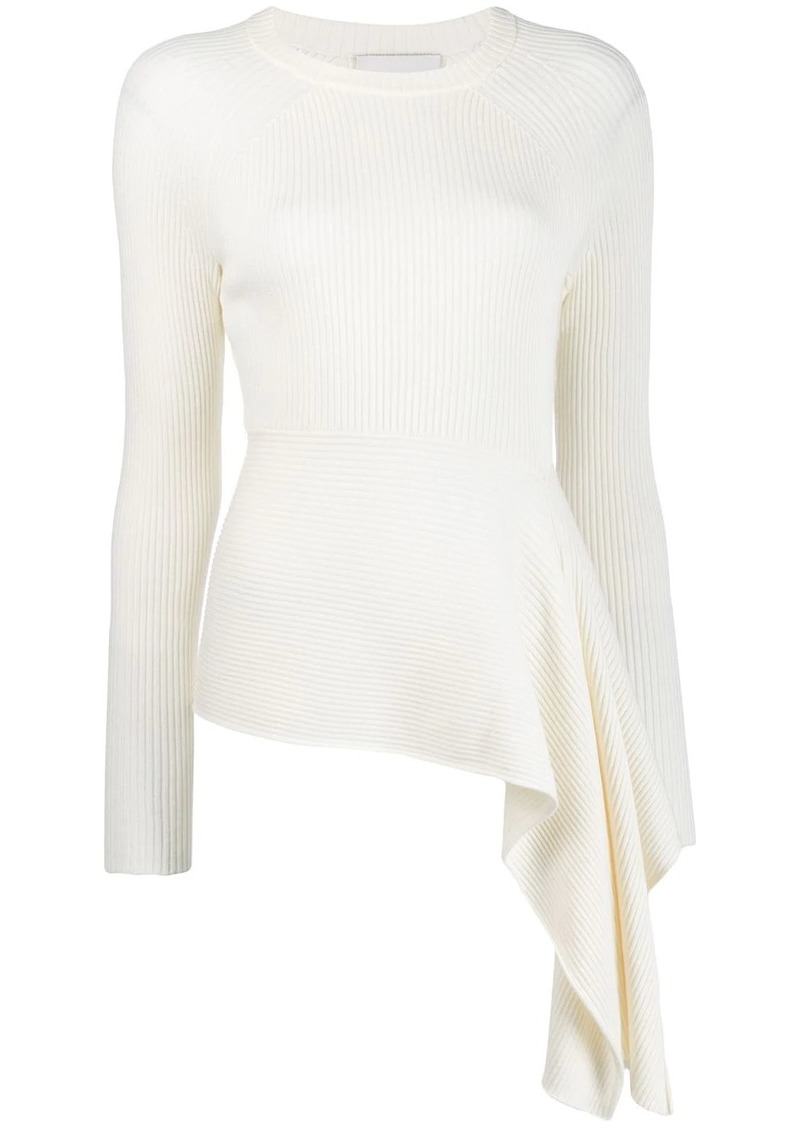 3.1 Phillip Lim asymmetric ribbed knitted top