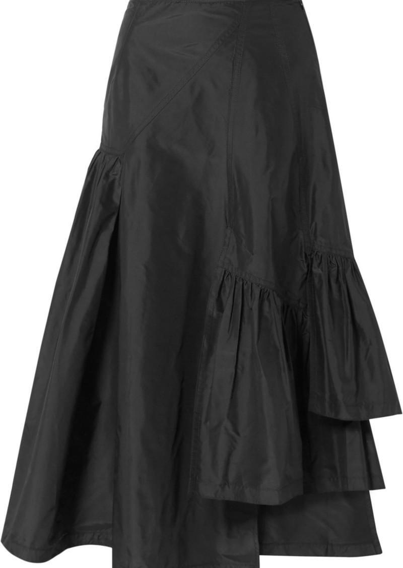 3.1 Phillip Lim Asymmetric Ruffled Silk-taffeta Midi Skirt
