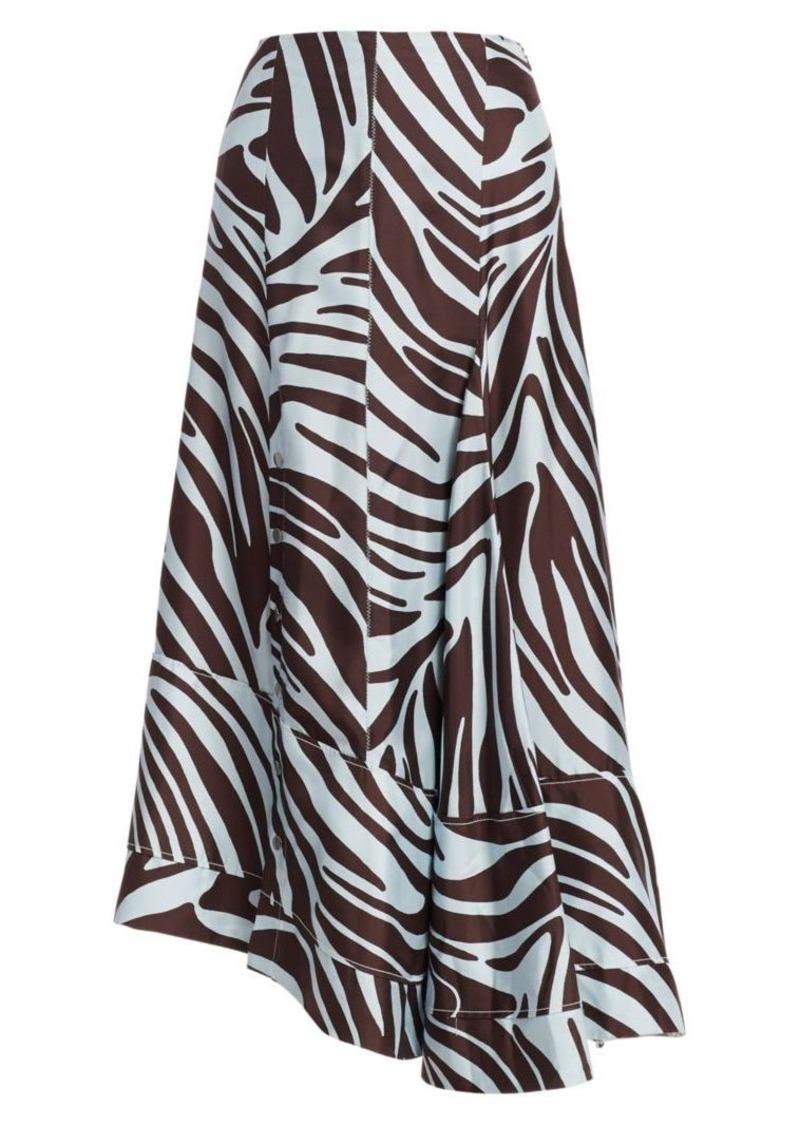 3.1 Phillip Lim Asymmetric Snap-Button Zebra Midi Skirt