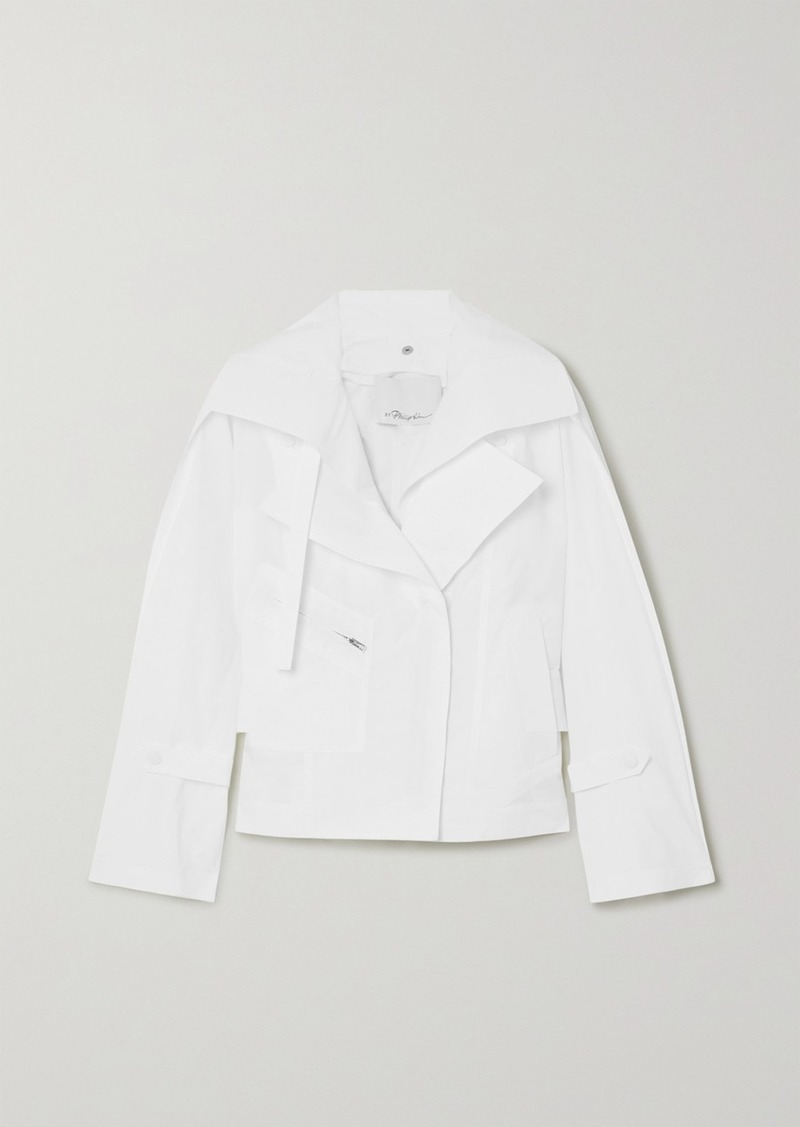 3.1 Phillip Lim Belted Cotton-blend Poplin Biker Jacket