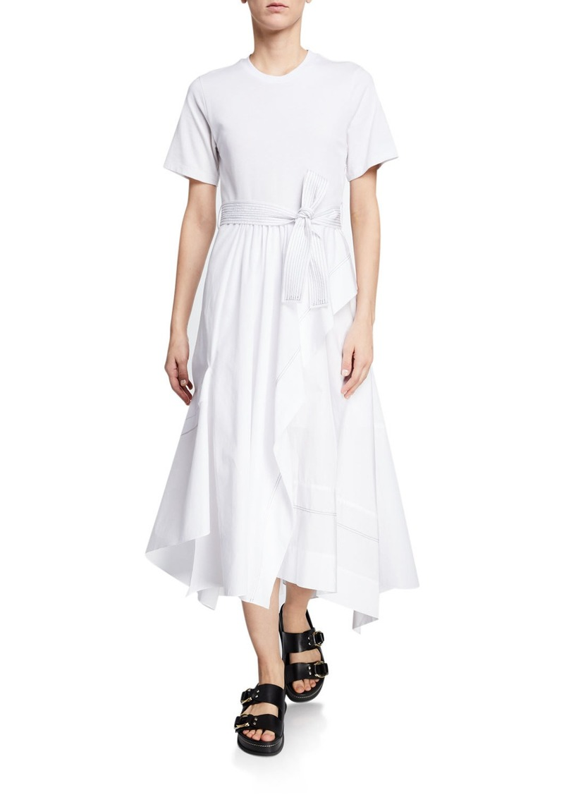 3.1 Phillip Lim Belted Crewneck Poplin Combo Tee Dress