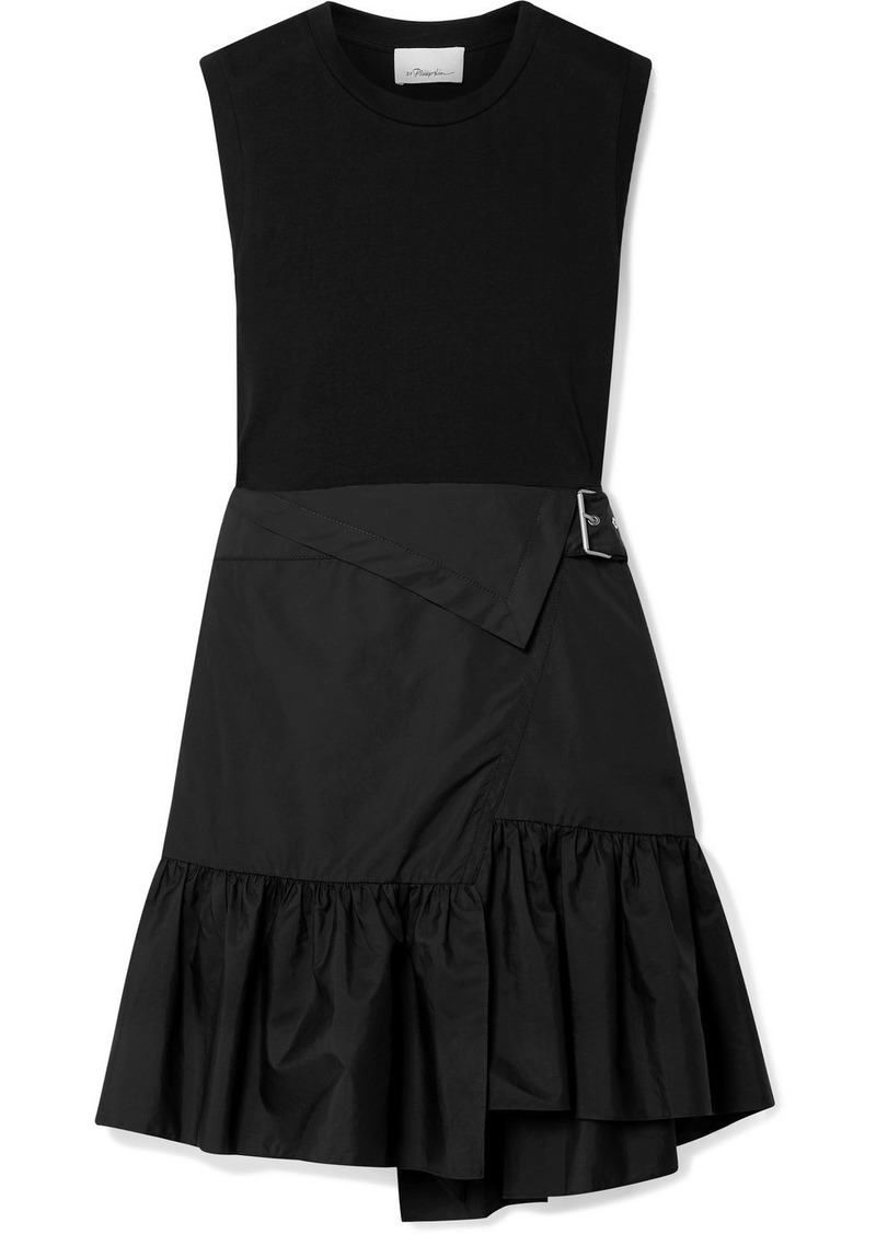 3.1 Phillip Lim Belted Layered Cotton-jersey And Poplin Dress