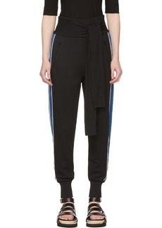 3.1 Phillip Lim Black & Blue Waist Tie Jogger Pants