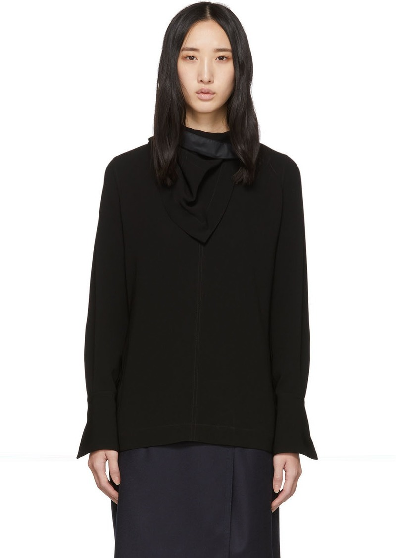 3.1 Phillip Lim Black Crepe Removable Scarf Blouse