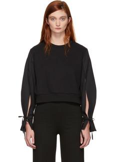 3.1 Phillip Lim Black Cropped Poplin Sleeves Sweatshirt