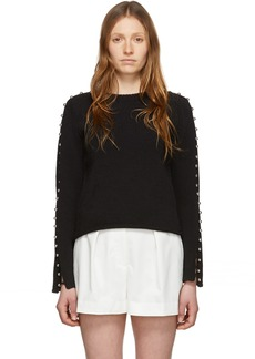 3.1 Phillip Lim Black Embellished Sleeve Sweater