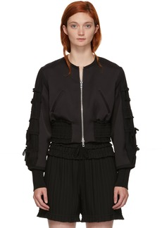 3.1 Phillip Lim Black Gathered Sleeve Bomber Jacket