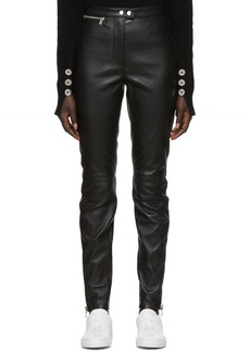 3.1 Phillip Lim Black Leather Moto Stretch Leggings