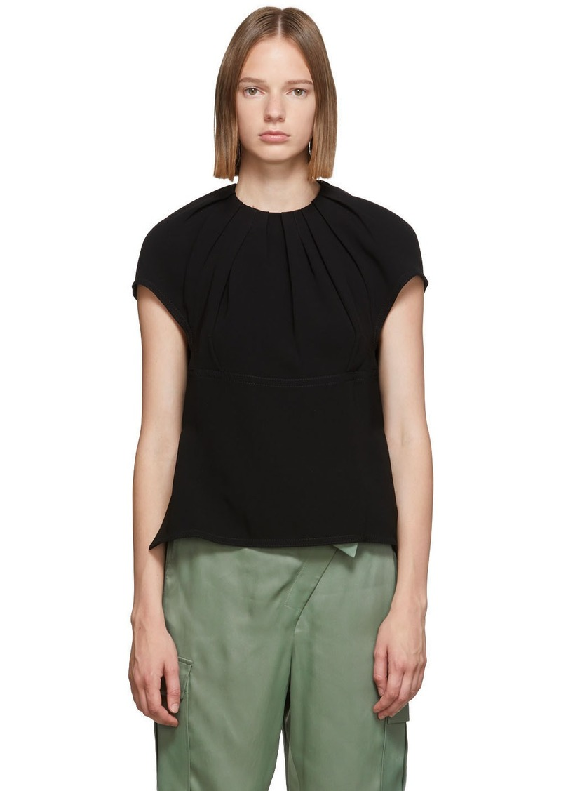 3.1 Phillip Lim Black Pleated Short Blouse