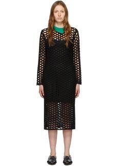 3.1 Phillip Lim Black Wool Open Knit Polo Maxi Dress