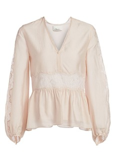 3.1 Phillip Lim Blouson Sleeve Lace & Silk Top