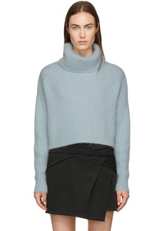 3.1 Phillip Lim Blue Mohair Cropped Turtleneck