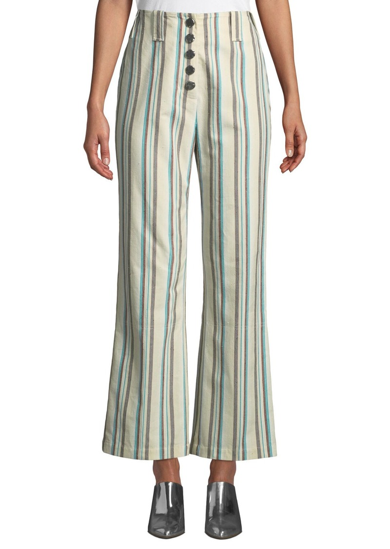 3.1 Phillip Lim Button-Front Kick-Flare Striped Cotton Pants