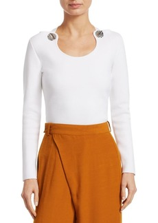 3.1 Phillip Lim Button Trimmed Cotton Jersey Top
