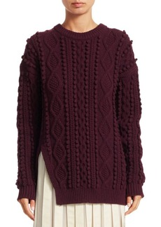 3.1 Phillip Lim Popcorn Cable-Knit Split Wool Sweater