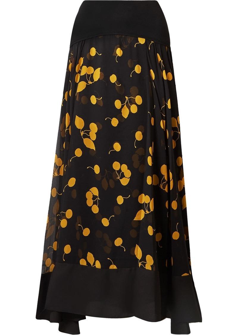3.1 Phillip Lim Cerise Paneled Printed Silk Crepe De Chine Maxi Skirt