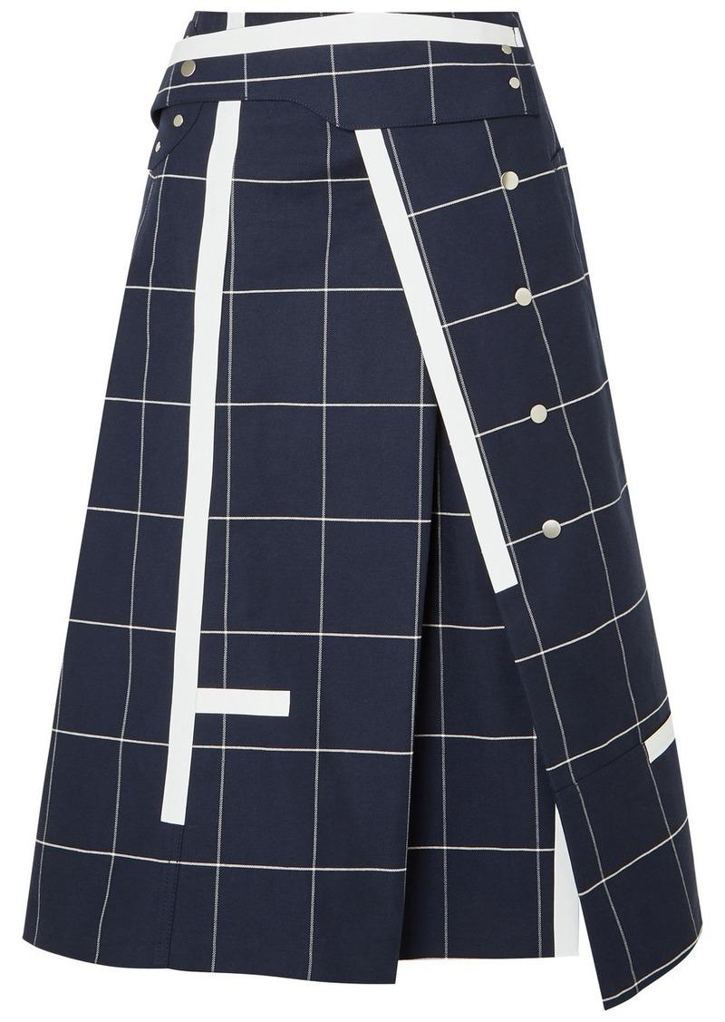 3.1 Phillip Lim Checked Cotton-blend Twill Midi Skirt