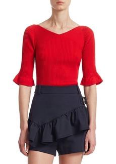 3.1 Phillip Lim Chiffon Silk Rib-Knit Sweater