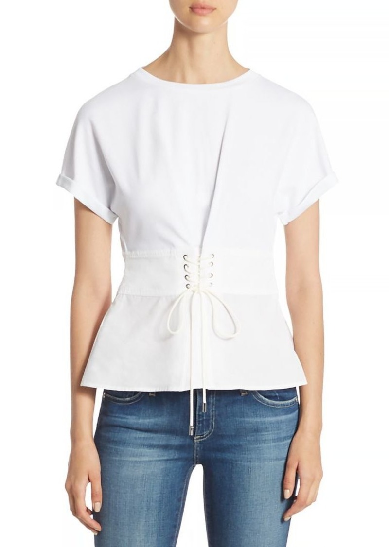 3.1 Phillip Lim Cotton Jersey Lace-Up Top